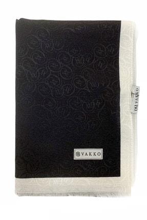 Vakko Monogram Şal - Siyah Beyaz