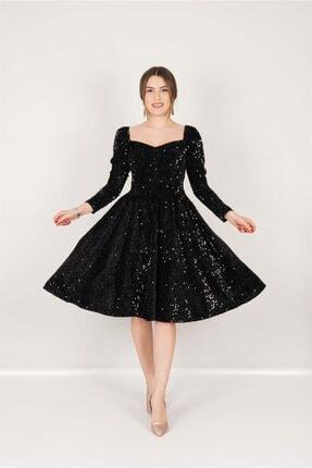giyimmasalı Kadife Payet Kalp Yaka Elbise - Siyah