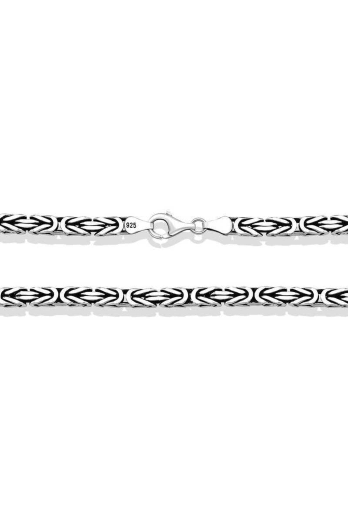 Gumush Gümüş Kral Zincir - 4 Mm Köşeli 1