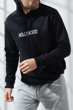 North London Erkek Üç Iplik Siyah Hollywood Baskılı Kapüşonlu Sweatshirt