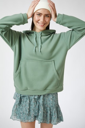 Happiness İst. Kadın Çağla Yeşili Kapüşonlu Kışlık Polar Sweatshirt ZV00047