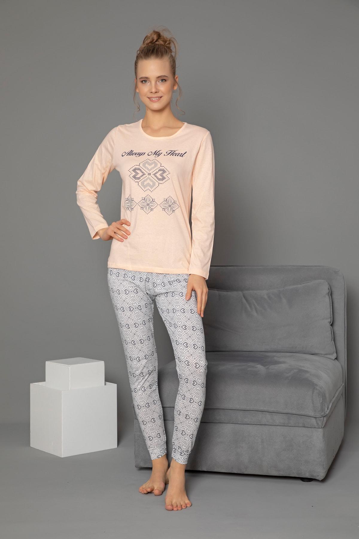 STRAWBERRY Pamuklu Baskılı Uzun Kol Pijama Takım 2
