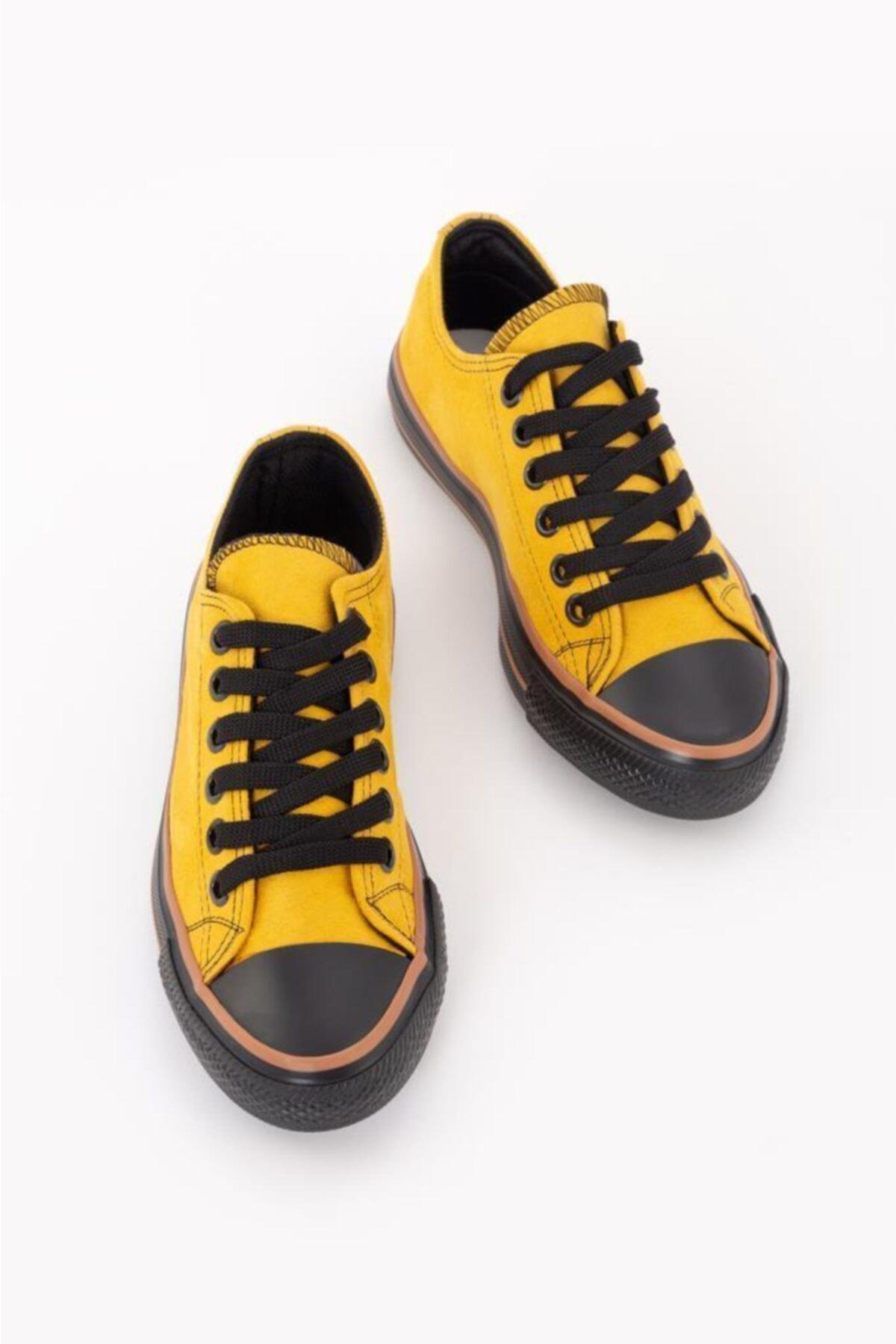 ESPARDİLE Kadın Sarı Lüks Süet Spor Ayakkabı 2