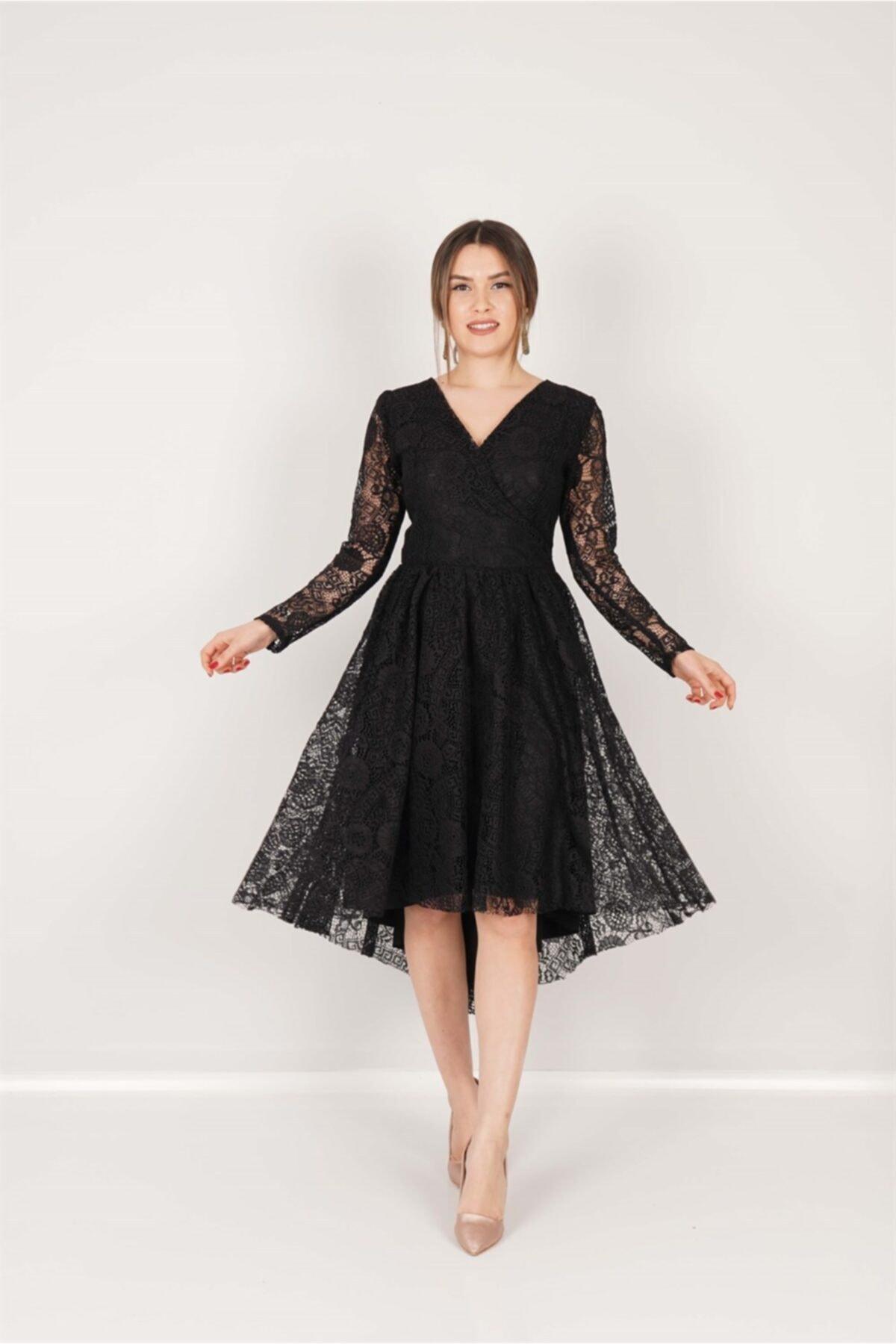 giyimmasalı Güpür Dantel Asimetrik Kesim Elbise - Siyah 1