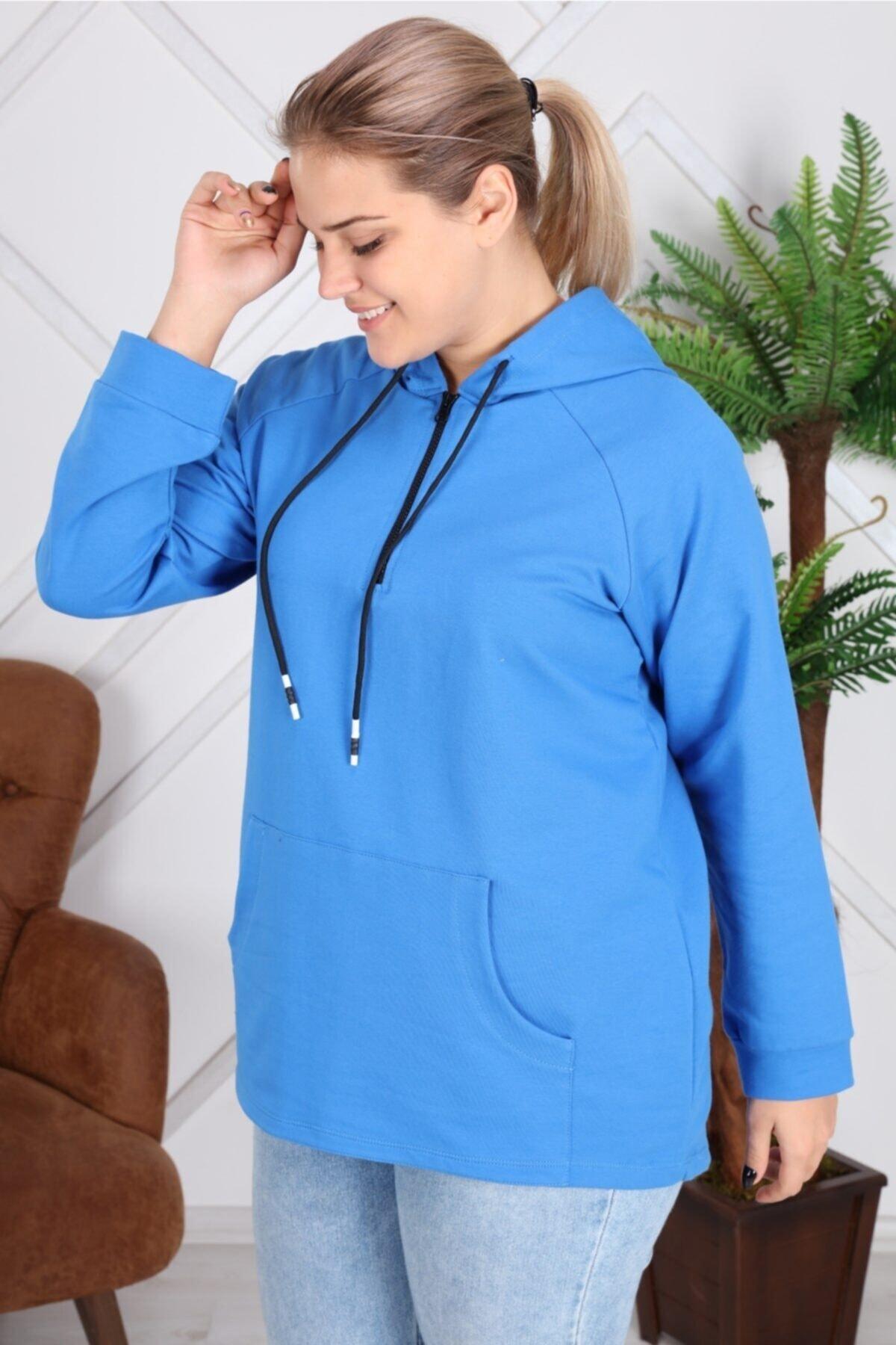 RMG Kapşonu Şerit Detaylı Fermuarlı Büyük Beden Mavi Sweatshirt 2