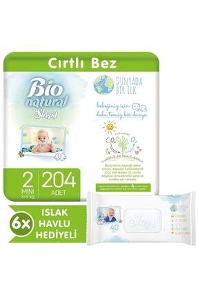 Sleepy Bio Natural Bebek Bezi 2 Numara Mini 204 Adet + 6x40 Bio Natural Islak Havlu