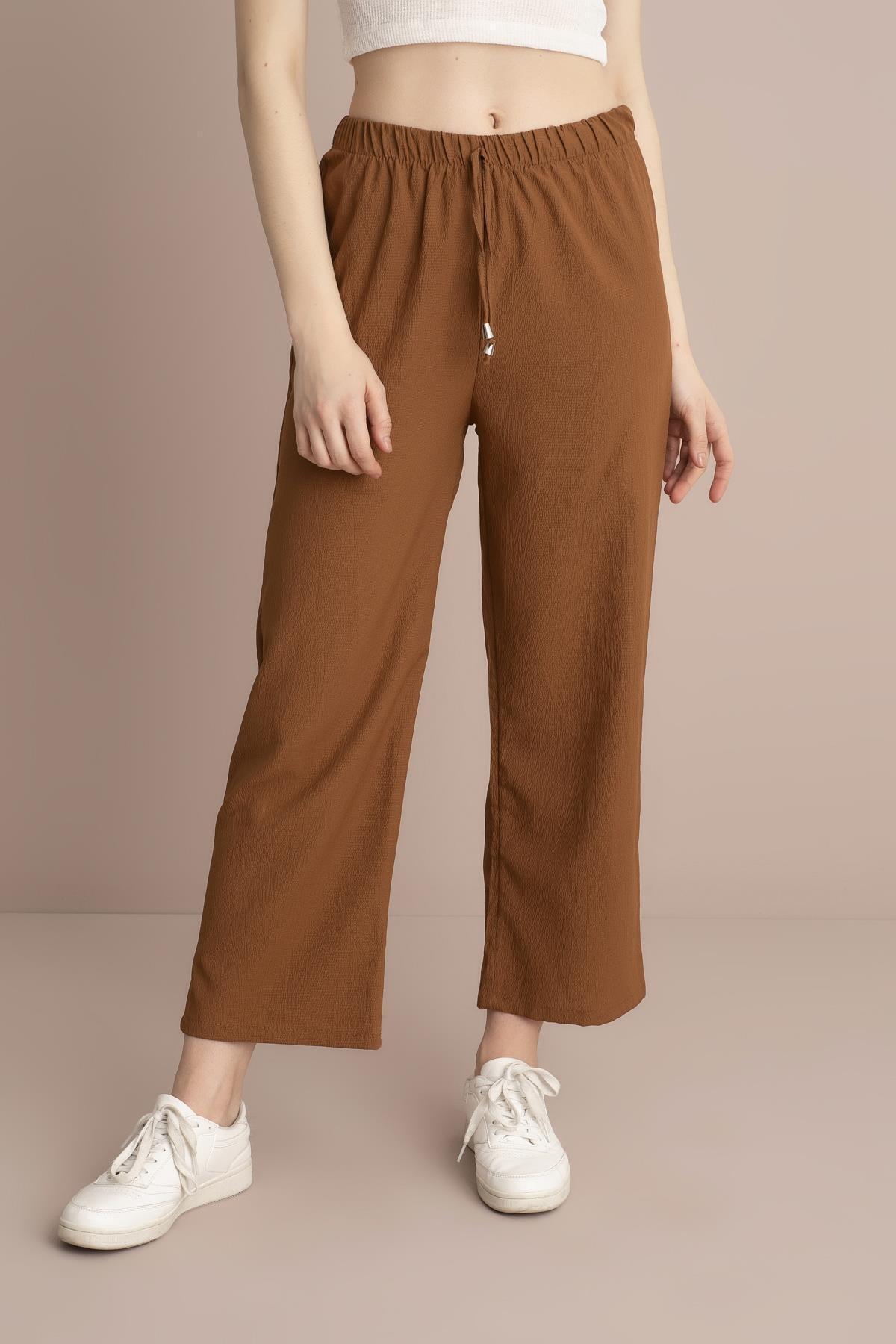TENA MODA Kadın Tarçın Bel Lastikli Bol Paça Pantolon 1