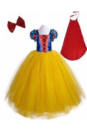 DEHAMODA Kız Çocuk Sarı Berra Tarlatanlı Pelerinli Taçlı Pamuk Prenses Kostüm