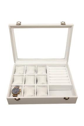 kutuveaksesuar Saat +yüzük+ Kol Düğmesi +gözlük Çok Amaçlı Takı Kutusu Ahşap Kasa Üzeri Deri Kaplama