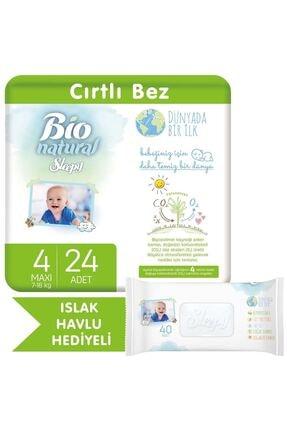 Sleepy Bio Natural Bebek Bezi 4 Numara Maxi 24 Adet + Bio Natural Islak Havlu Hediyeli
