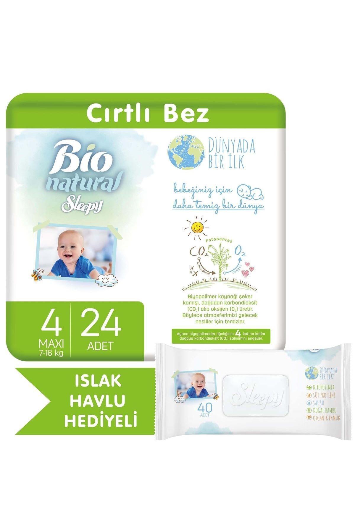 Sleepy Bio Natural Bebek Bezi 4 Numara Maxi 24 Adet + Bio Natural Islak Havlu Hediyeli 1