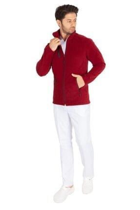 VEHBİ Erkek Bordo Doktor Hemşire Poları Hastane Kışlık Polar Ceket Modeli