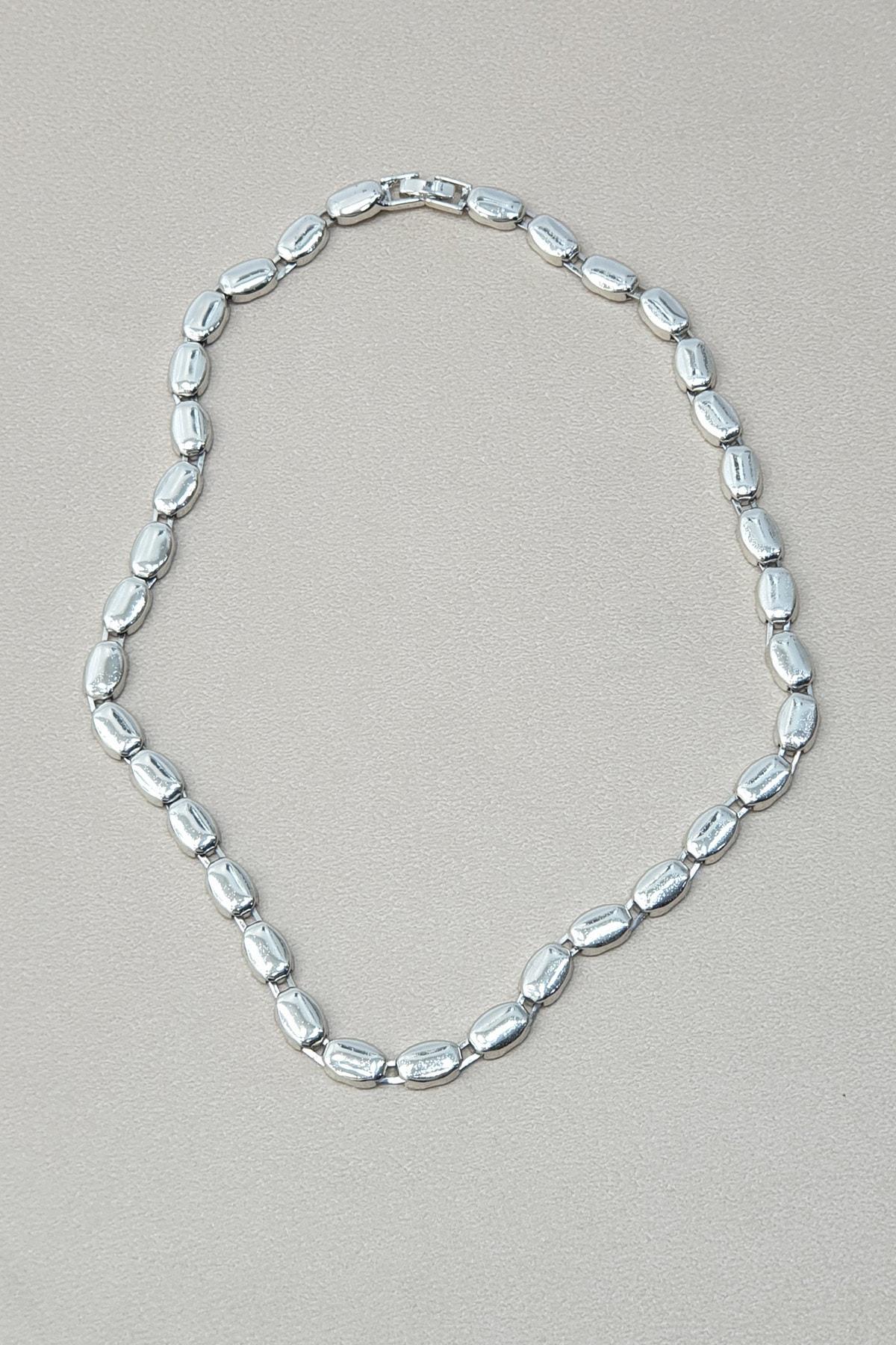 Marjin Kadın Gümüş Renkli  Oval Zincir Kolye 2