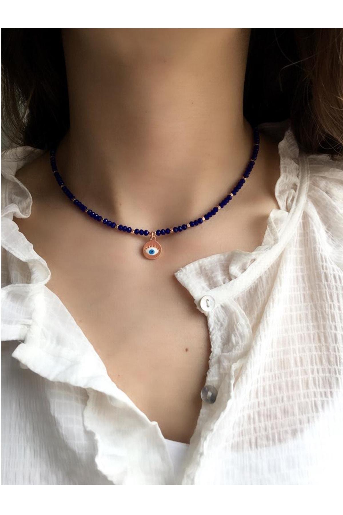 Serpil Jewellery Kadın Lacivert Çek Kristali Nazarlı Kolye 1