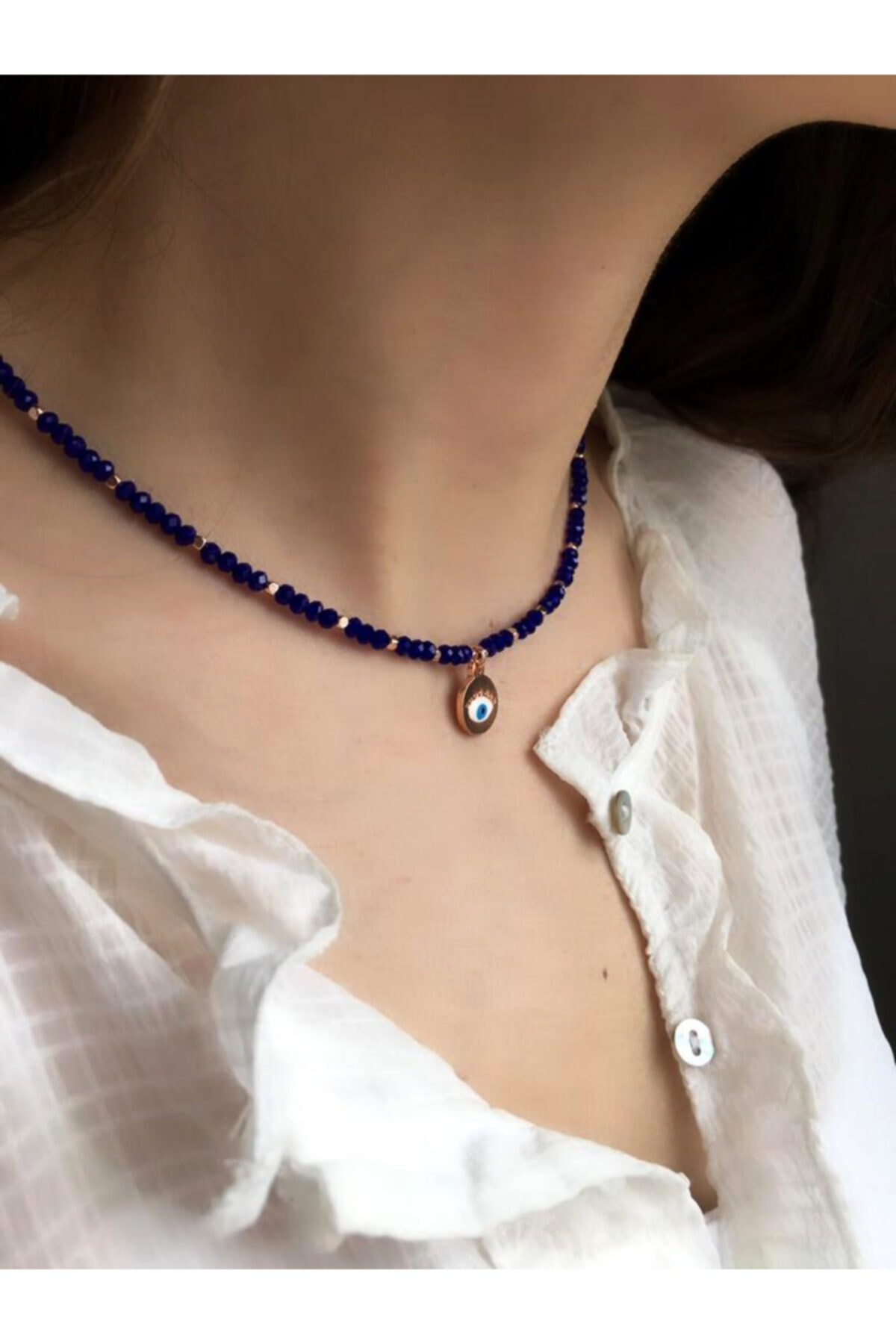 Serpil Jewellery Kadın Lacivert Çek Kristali Nazarlı Kolye 2