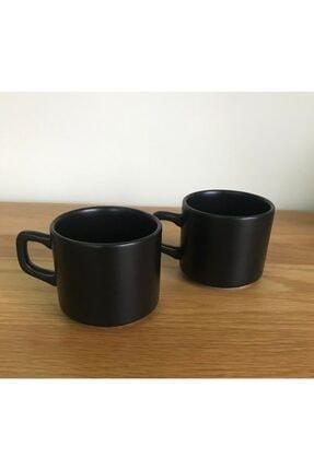 Keramika 8 Cm Stackable Çay Fincanı Siyah 2 Li