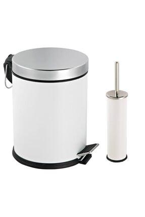 Foreca 2 Li Çöp Kovası Banyo Seti Beyaz Metal Kapak