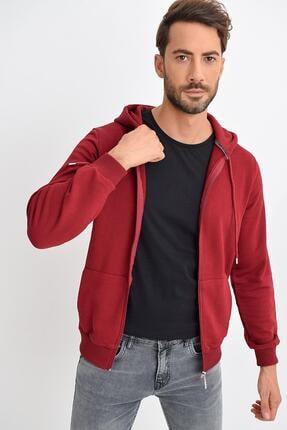 TENA MODA Erkek Bordo Kapüşonlu Fermuarlı Basic Sweatshirt