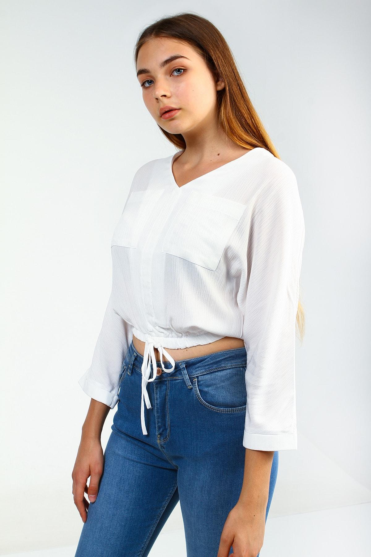 Collezione Ecru Kadın Etek Ucu Lastik Bağlamalı Ön Cep Desenli Bluz 1