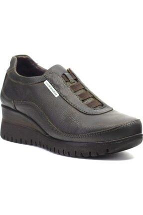 Mammamia D19ka-490 Haki Deri Dolgu Topuk Günlük Kadın Ayakkabı