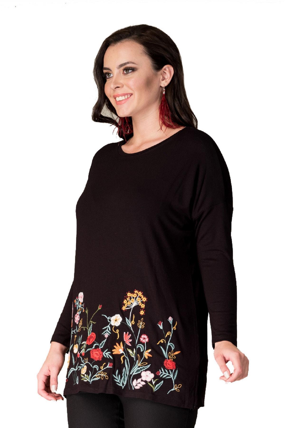 Günay Giyim Kadın Tunik Hnz192 Sonbahar Kış O Yaka Triko Işleme 2