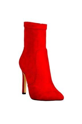 Ayakkabı Çarşı Günlük Kırmızı Topuklu Kadın Süet Çizme Redlips205
