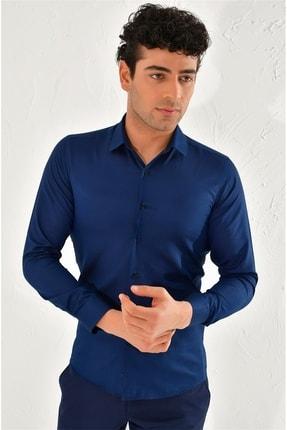 Efor Gk 572 Slim Fit Lacivert Klasik Gömlek