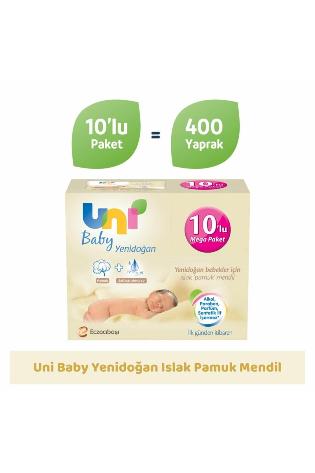 Uni Baby Yenidoğan Islak Pamuk Mendil 10'lu - 400 Yaprak 2