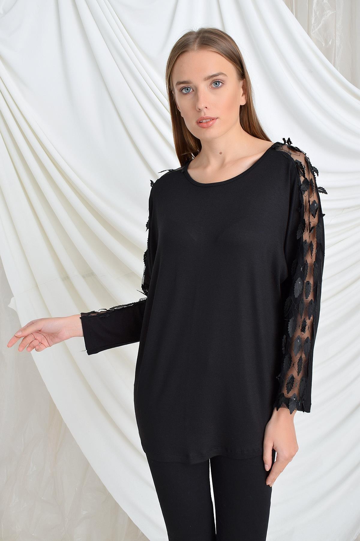 TENA MODA Kadın Siyah Kolu Yapraklı Çilek Bluz 2