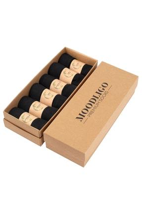 Moodligo Erkek Siyah Premium 6lı Bambu Çorap