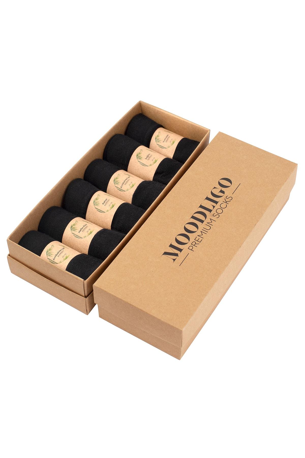 Moodligo Erkek Siyah Premium Bambu Çorap 6 lı 1