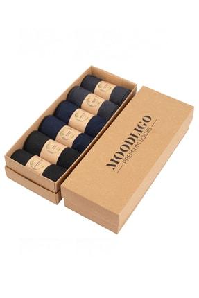 Moodligo Premium 6'lı Erkek Bambu Çorap - 2 Siyah 2 Lacivert 2 Füme