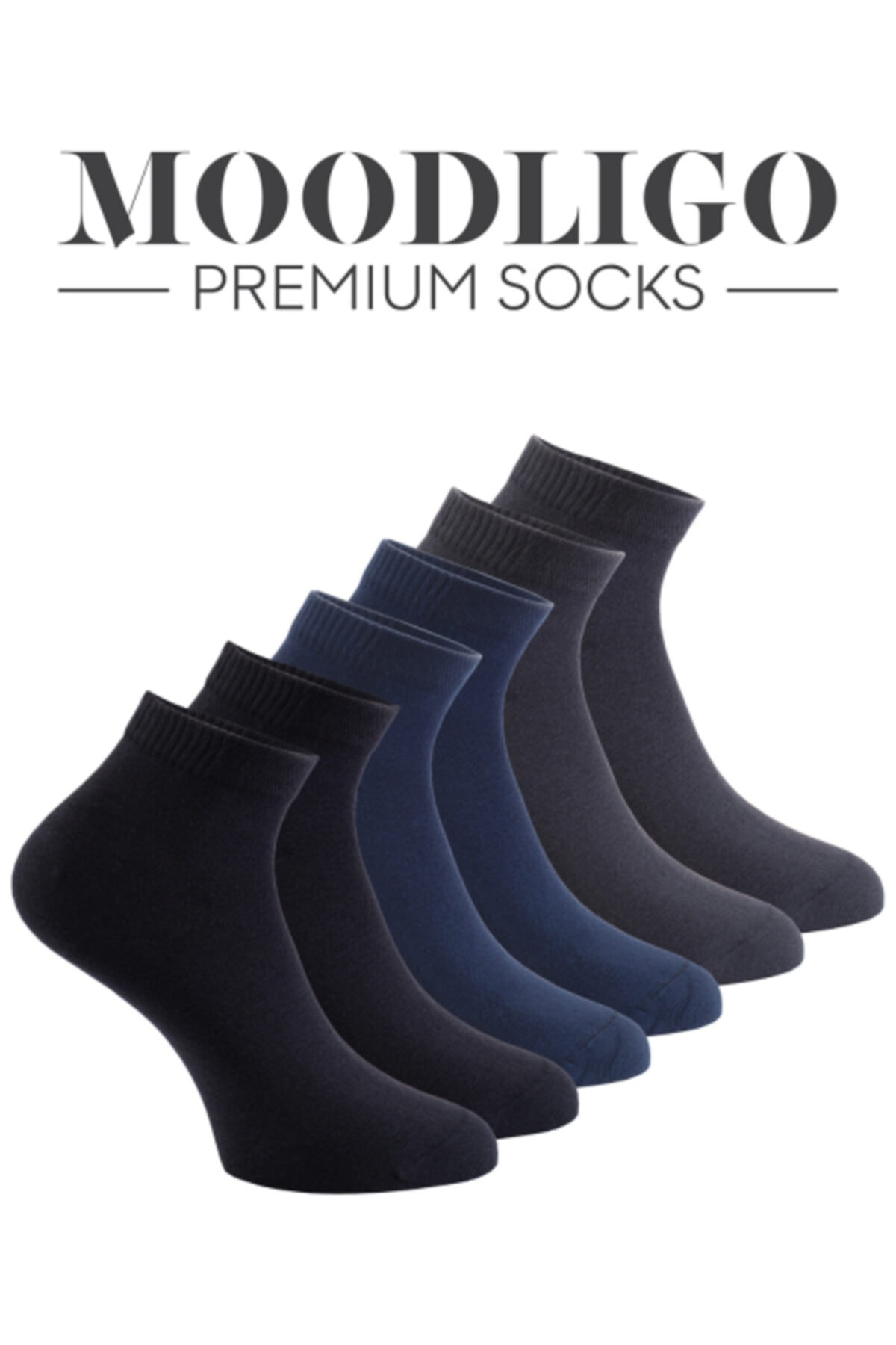 Moodligo Premium 6'lı Bambu Patik Erkek Çorap 2 Siyah 2 Füme 2 Lacivert 2