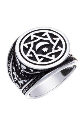 Takı Dükkanı Erkek Gümüş Ay Yıldızlı Abdülhamit Payitaht Yüzüğü Msr324
