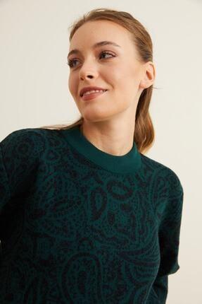 adL Kadın Yeşil Şal Desenli Triko Kazak