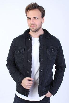 LTC Jeans Erkek Siyah Kürk Detaylı Kot Ceket