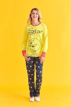 TWEETY Kadın Sarı Lisanslı Pijama Takımı