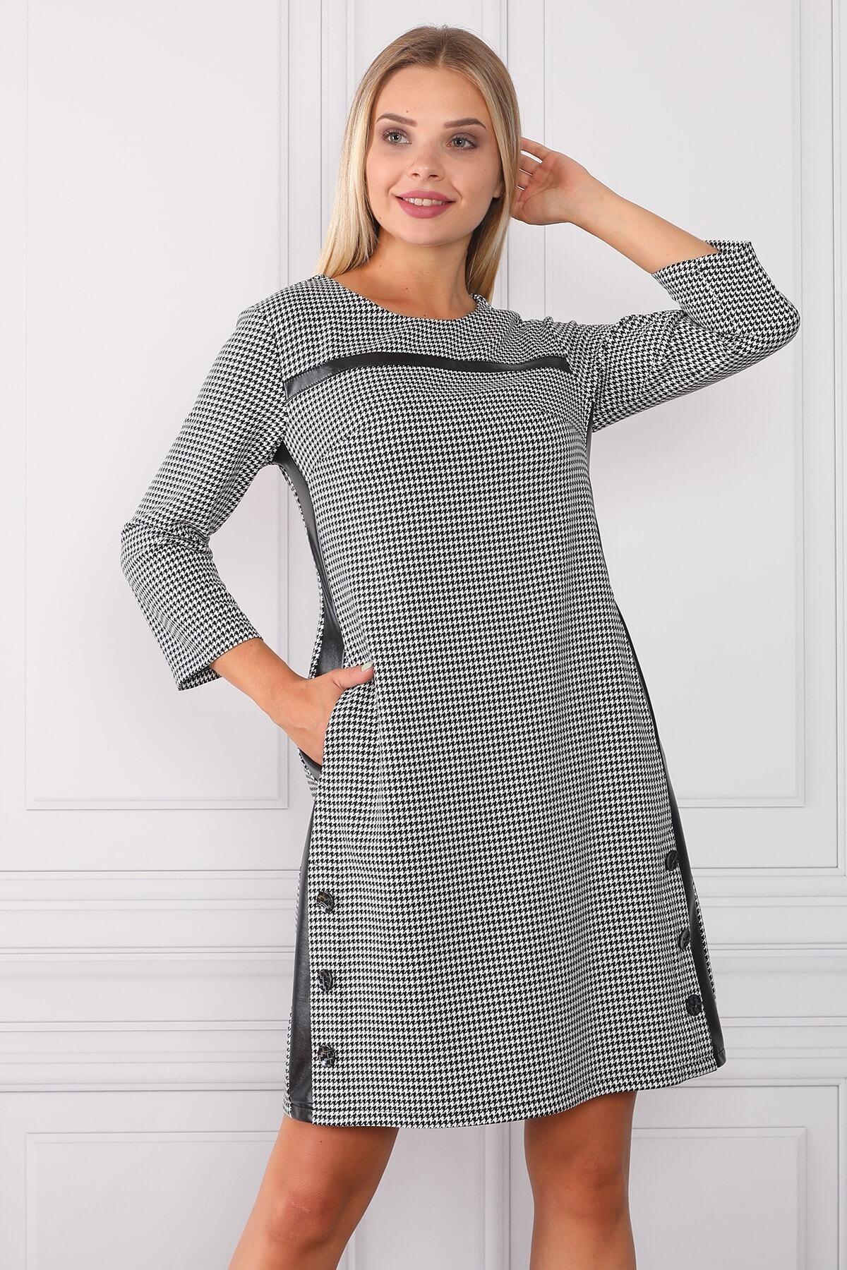 Element's Kadın Çizgili Ve Deri Detaylı Elbise 1