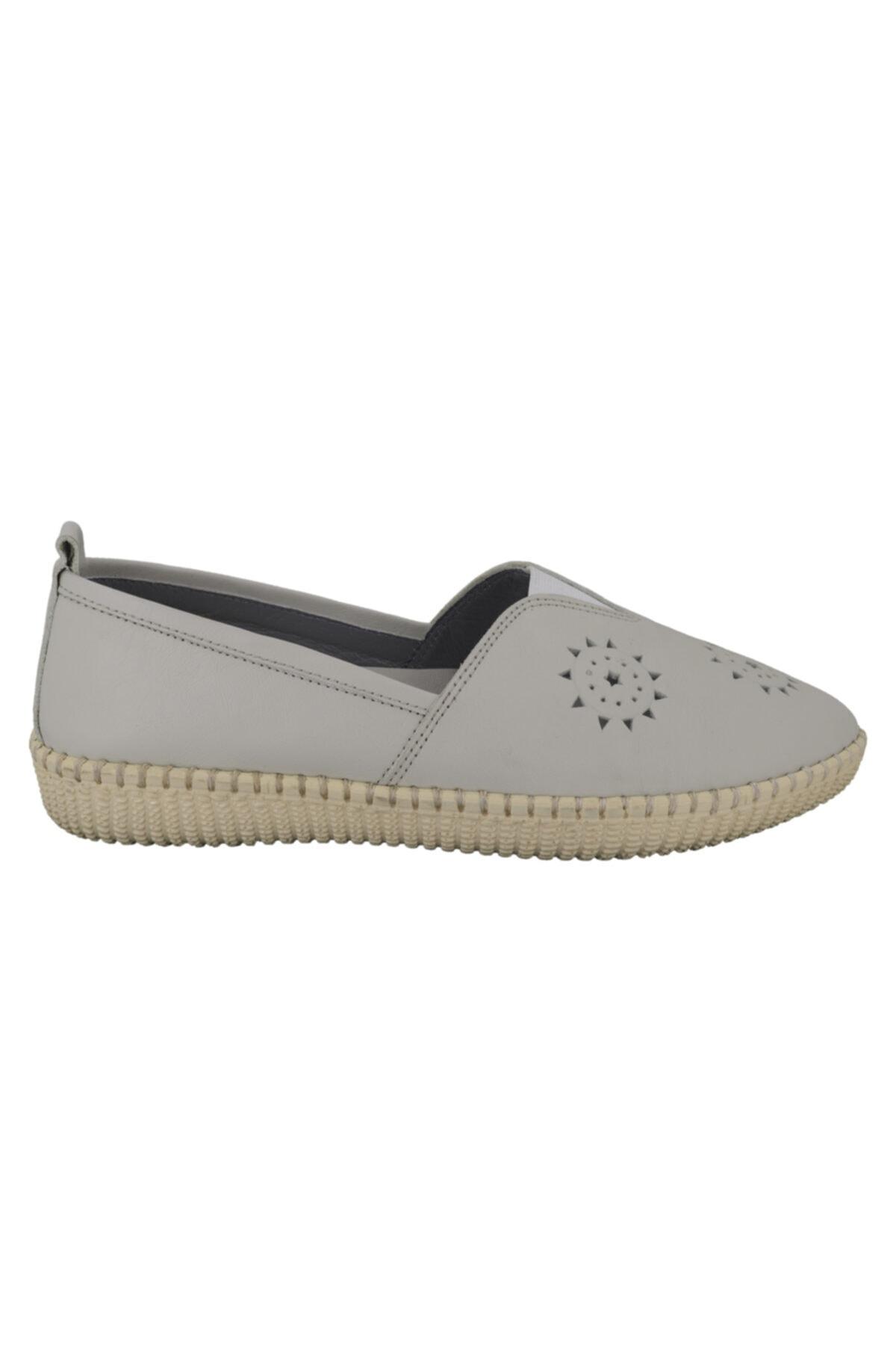 Hobby Bej Deri Kadın Ayakkabı Fb118 1