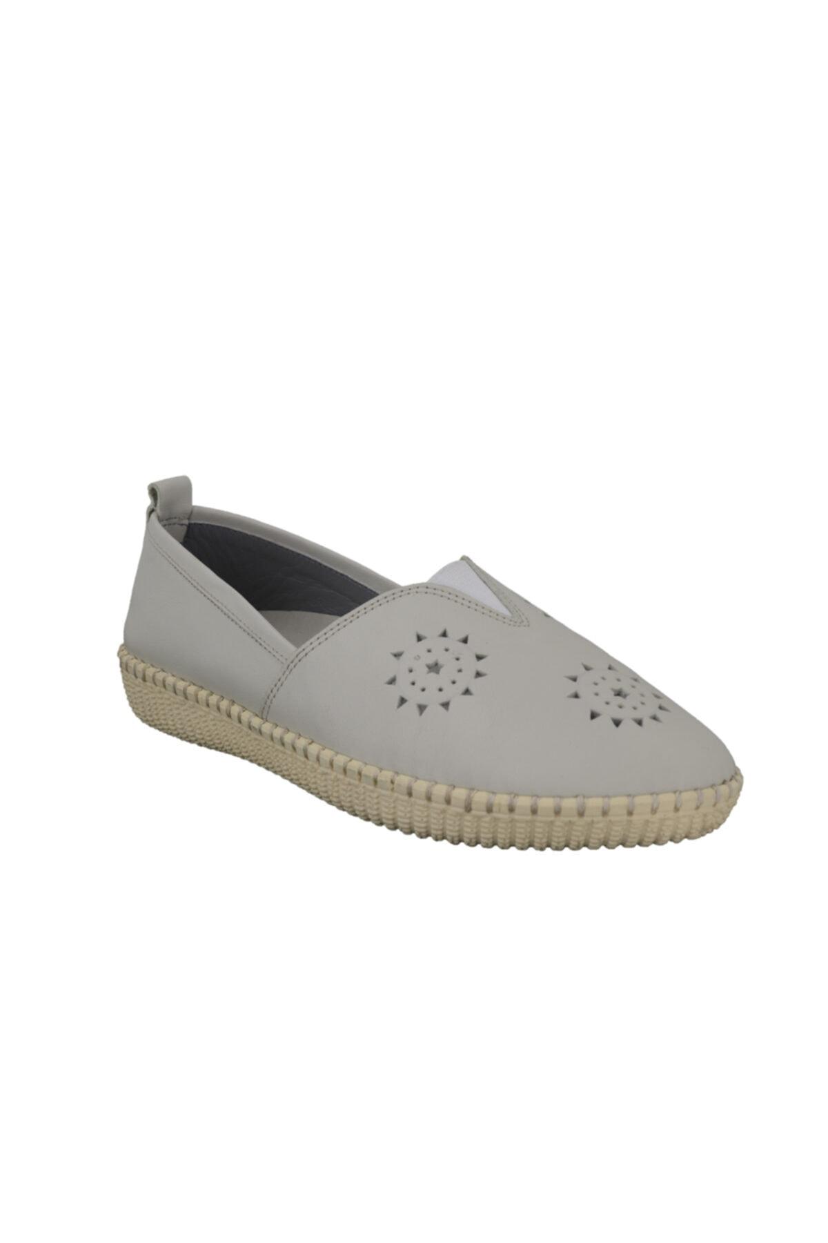 Hobby Bej Deri Kadın Ayakkabı Fb118 2