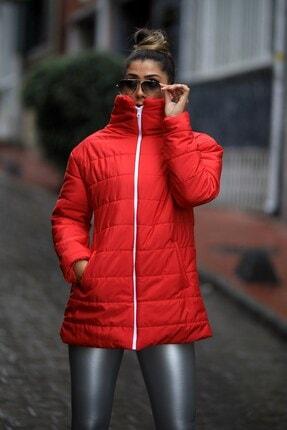Keyifli Moda Kadın Kırmızı Dik Yaka Uzun Şişme Mont