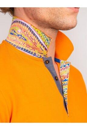 Dufy Turuncu Yaka Içi Detaylı Merserize Pamuk Polo Yaka Erkek T-shırt - Slım Fıt