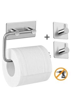 DELTAHOME Paslanmaz Çelik Tuvalet Kağıtlığı Standı + 2 Askılık - Yapışkanlı Sistem - Vida Yok!