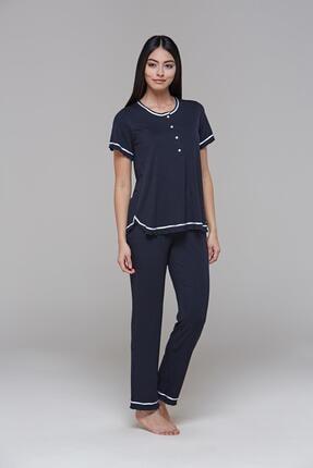 PJS 21553 Kadın Kısa Kollu Puantiyeli Pijama Takım