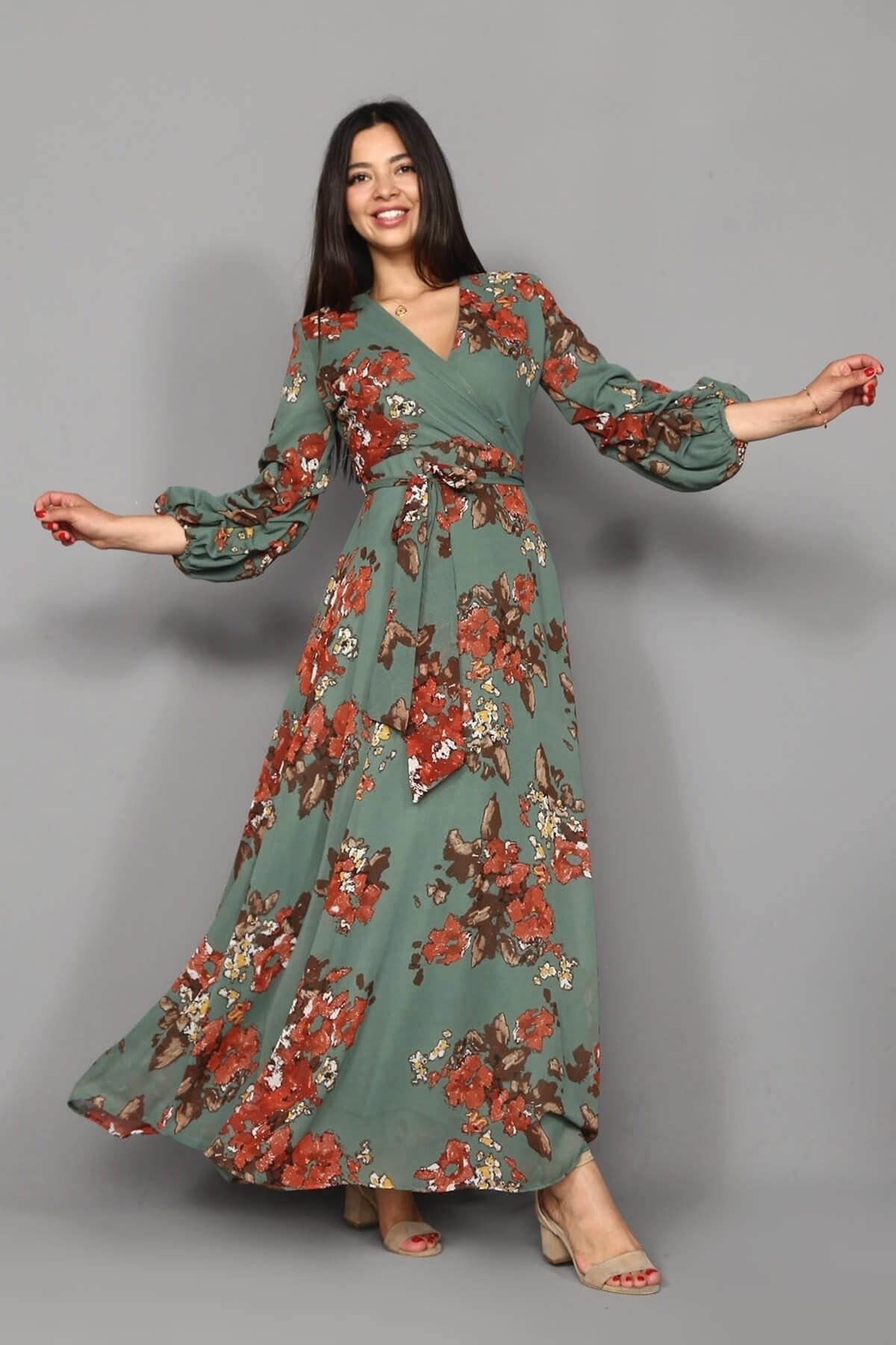 Modakapimda Yeşil Çiçekli Uzun Büyük Beden Şifon Elbise 1