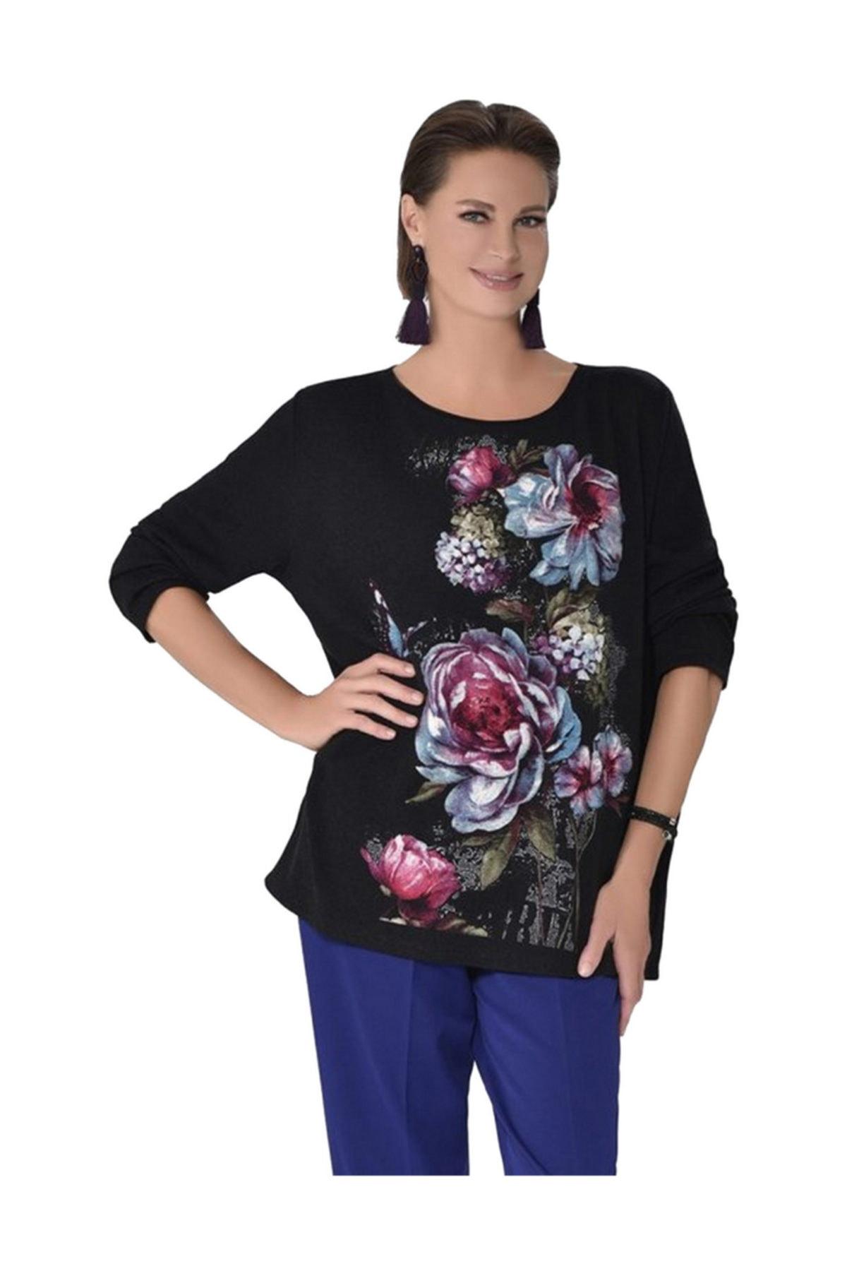 Günay Giyim Kadın Tunik Ccdüğme Sonbahar Kış O Yaka Çiçek Desen 1