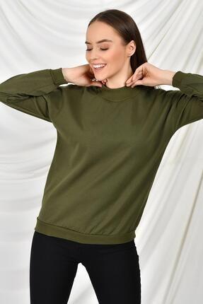 TENA MODA Kadın Haki Dik Yaka Iki Iplik Sweatshirt