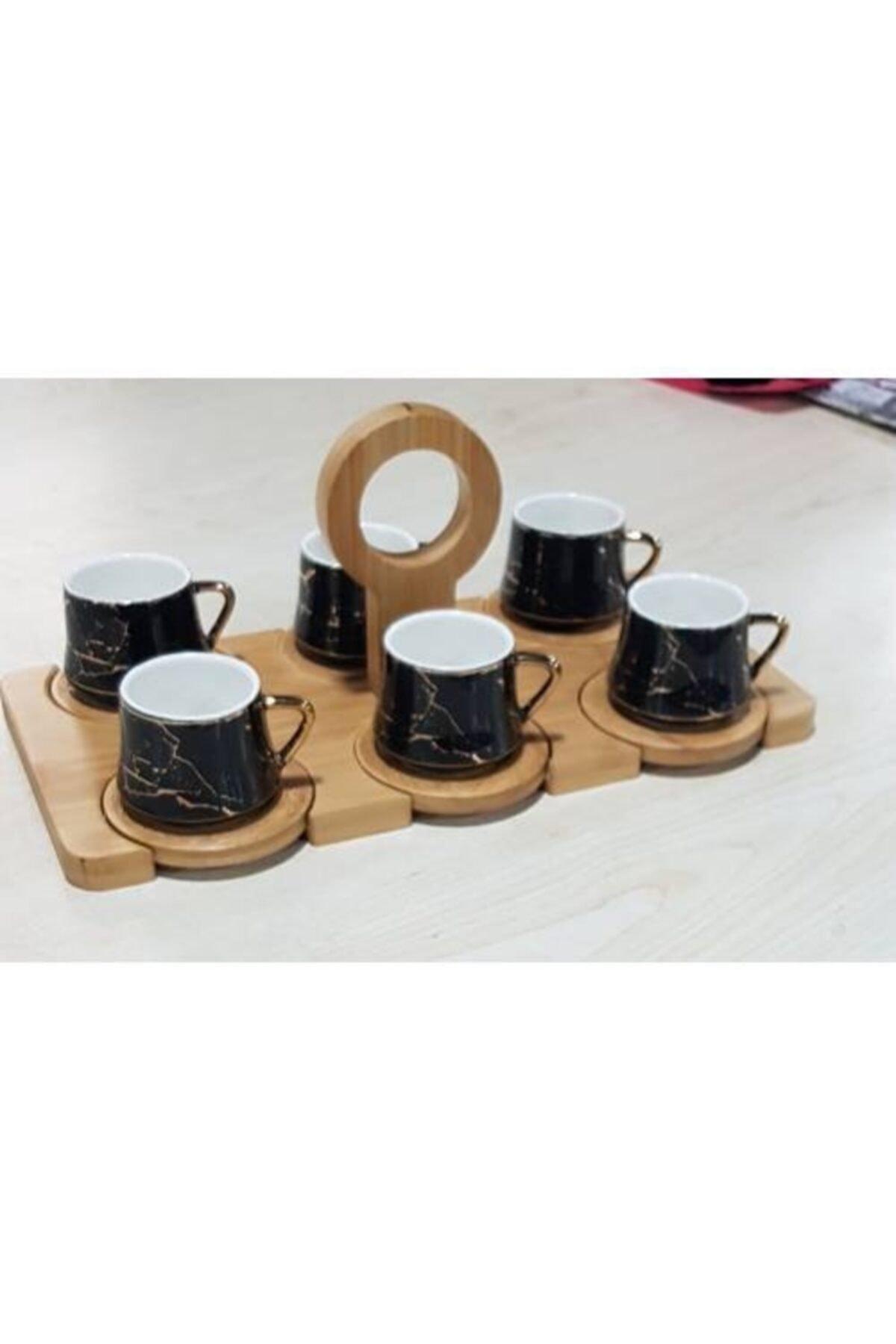 Paçi Bambu Tepsili Tutmalı Siyah Mermer Desen Türk Kahvesi Fincan Takımı Fincan Seti Siyah 2