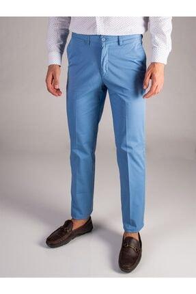Dufy Mavi Düz Sık Dokuma Erkek Pantolon - Regular Fıt