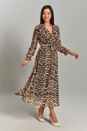 Modakapimda Leopar Desenli Kruvaze Yaka Büyük Beden Şifon Elbise